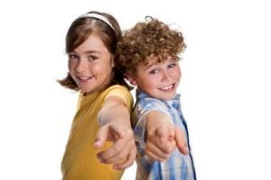 Photo of two kids pointing