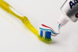 Toothpaste on a toothbrush photo